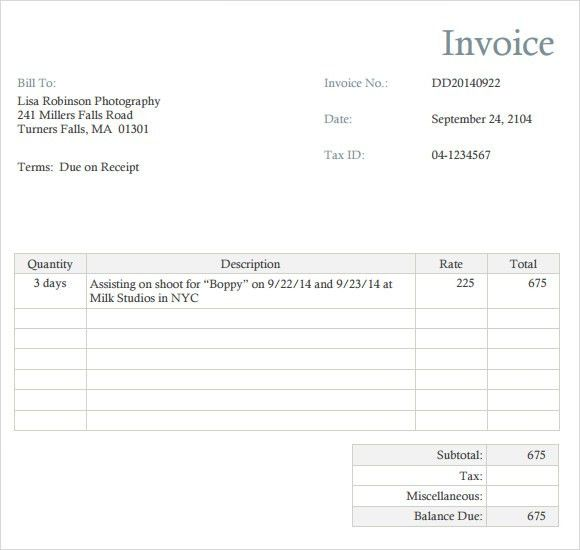 Photography Invoice Template - 7+ Free Samples, Examples, Format