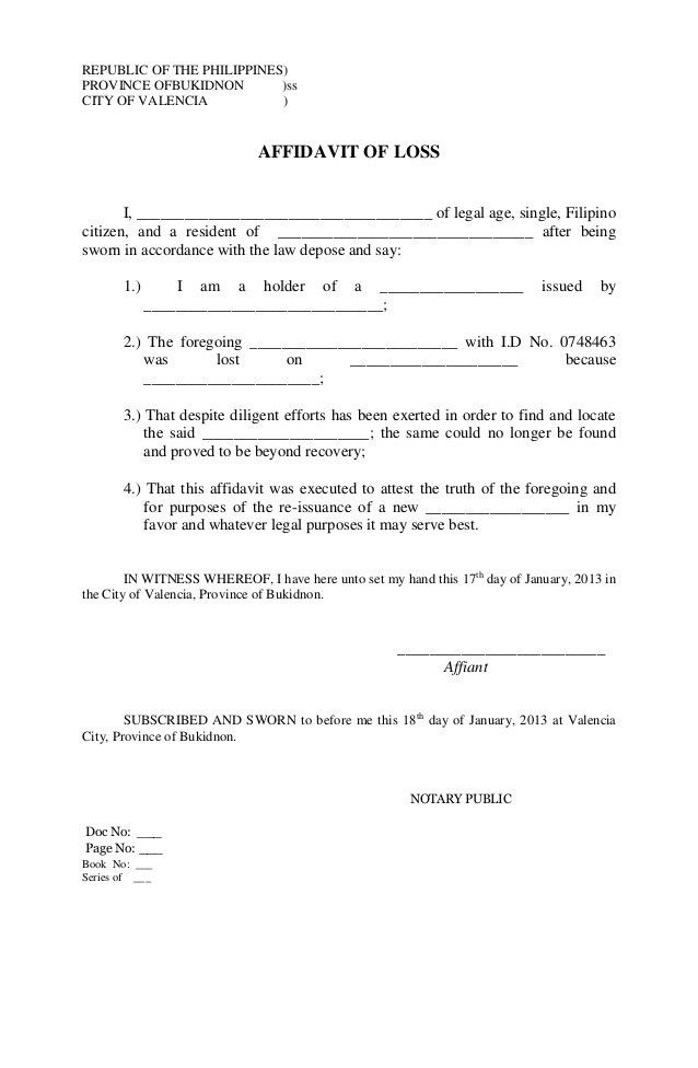 Legal Forms Philippines Affidavit | Create professional resumes ...
