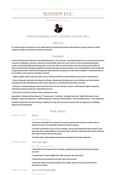 Sales Agent Resume samples - VisualCV resume samples database