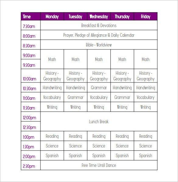 Weekly School Schedule Template -9 Free Word, Excel Documents ...