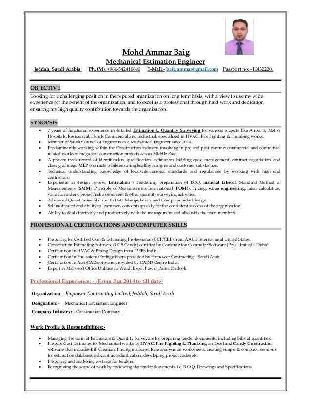 CV- Estimation Engineer & Quantity Surveyor