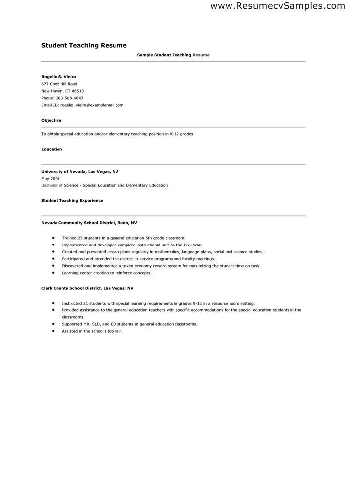 Student Teacher Resume | berathen.Com