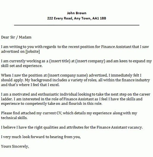 Sample Of Cover Letter For Financial Position - Cover Letter Templates