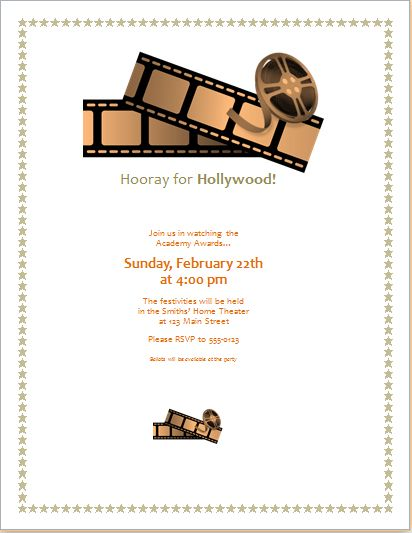 Editable MS Word Movie Award Party Invitation Template | Word ...