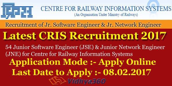 Latest CRIS Recruitment 2017 - 54 JSE JNE CRIS Jr. Engineer ...