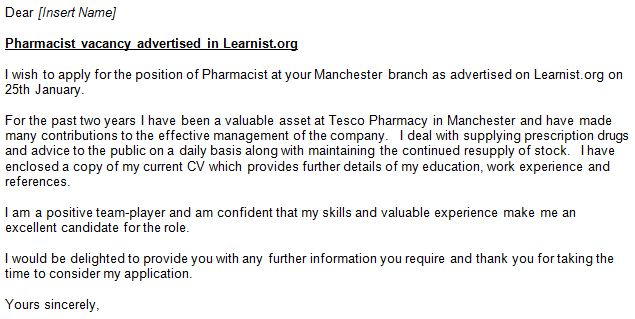 Pharmacist Cover Letter Example for Job Applications - forums ...