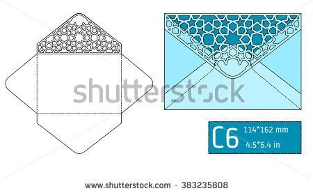 Die Cut Envelope Template Vector Standard Stock Vector 351417437 ...