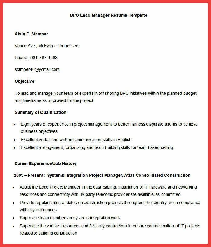 resume format for bpo jobs bpo resume template 22 free samples