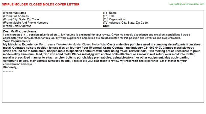 Molder Closed Molds Cover Letter