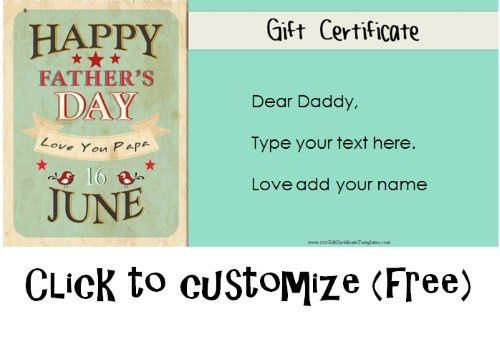 Free Fathers Day Gift Certificates | Father's Day | Pinterest ...