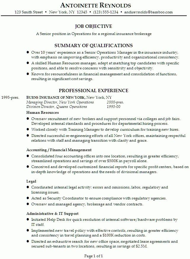 Resume Examples For Managers. 17 Best Images About Operations ...