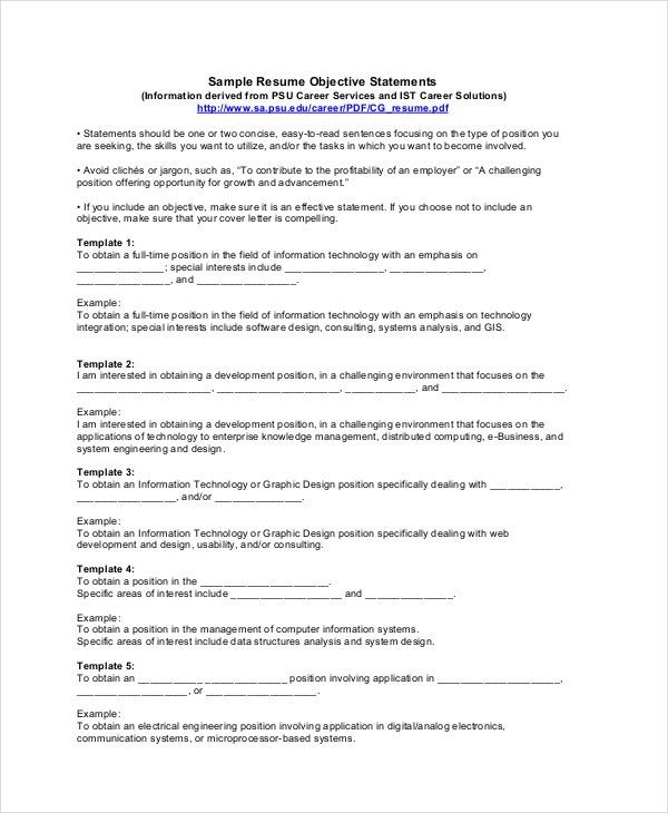 18+ Sample Resume Objectives - Free Sample, Example, Format | Free ...