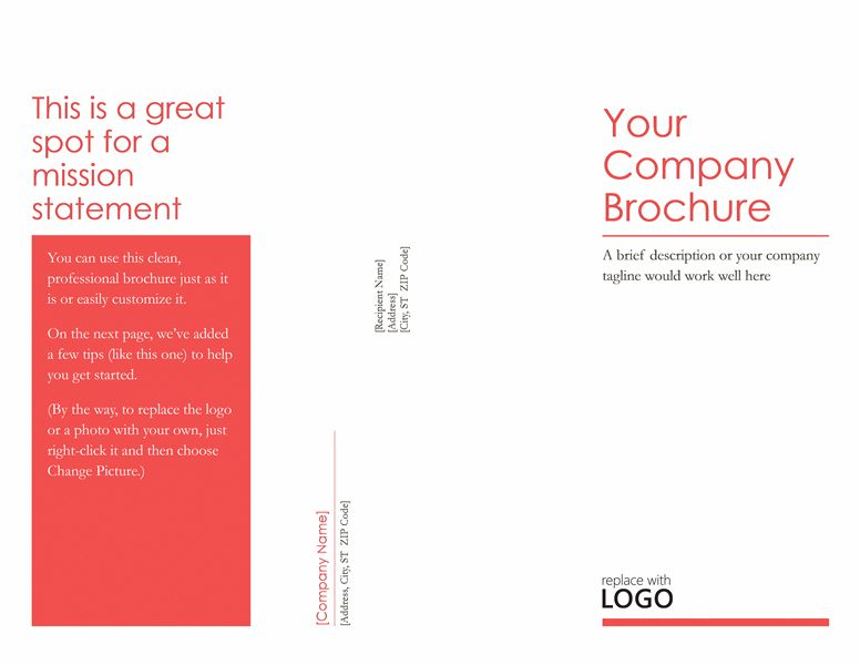 Trifold Simple Corporate Brochure Template For Word 2013 Or Newer ...