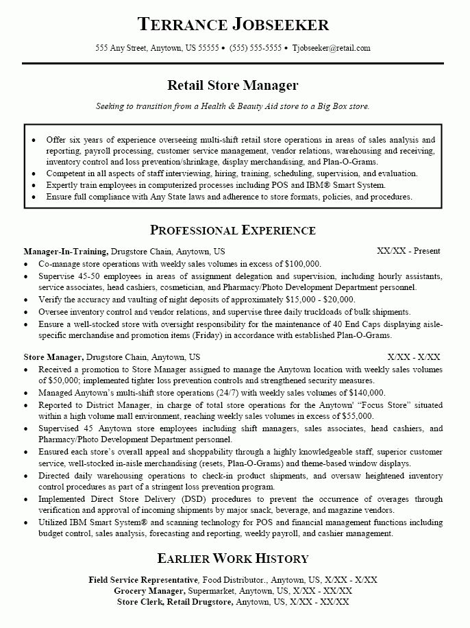 sample retail store manager resume ilivearticlesinfo