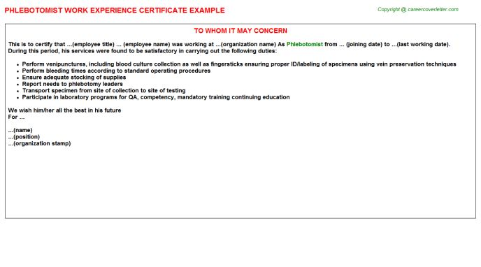 Phlebotomist Work Experience Certificate