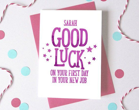 Good Luck at New Job Personalised First Day At Work Card