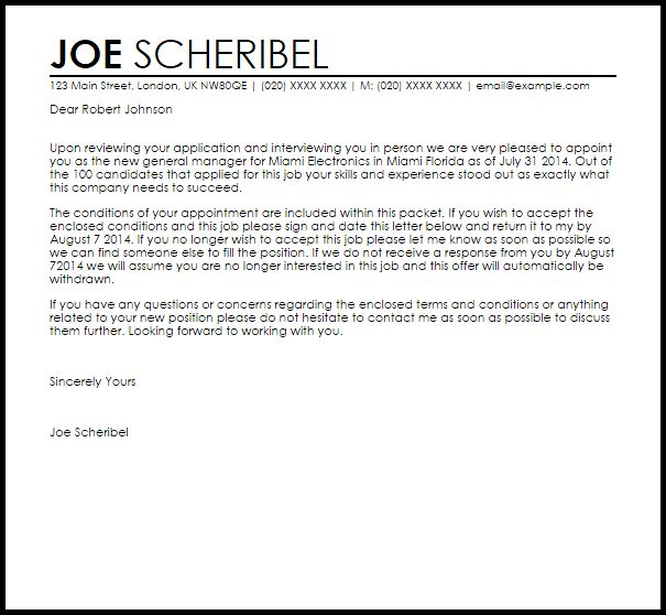 Job Appointment Letter   Appointment Letters   LiveCareer
