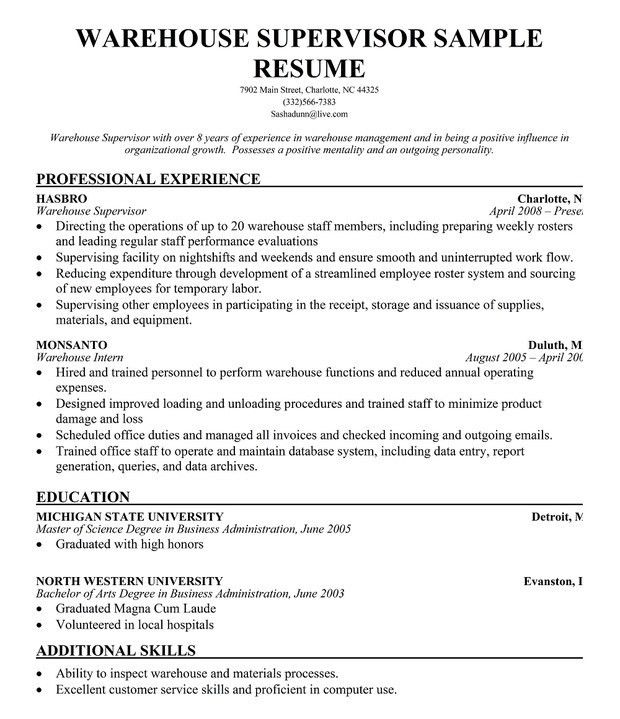 Warehouse Supervisor Resume | The Best Resume