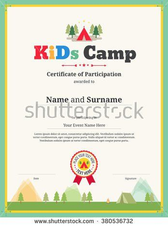 Colorful Kids Certificate Template Portrait Children Stock Vector ...