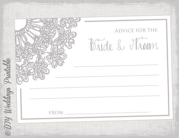 Printable guest advice card template Lace Doily