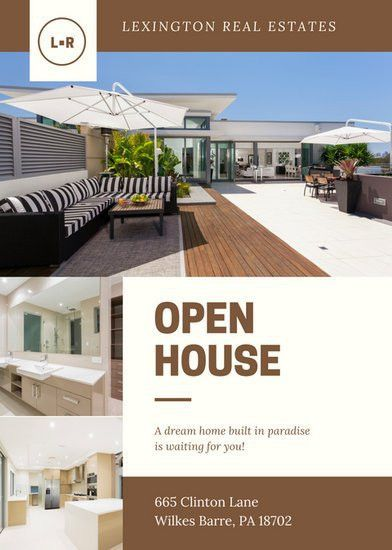 Brown Cream Modern Photo Open House Flyer - Templates by Canva