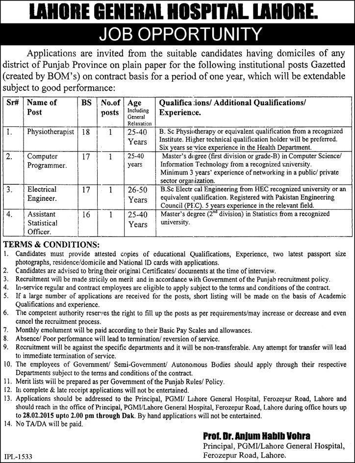 Assistant Statistical Officer Job, Lahore General Hospital Job ...