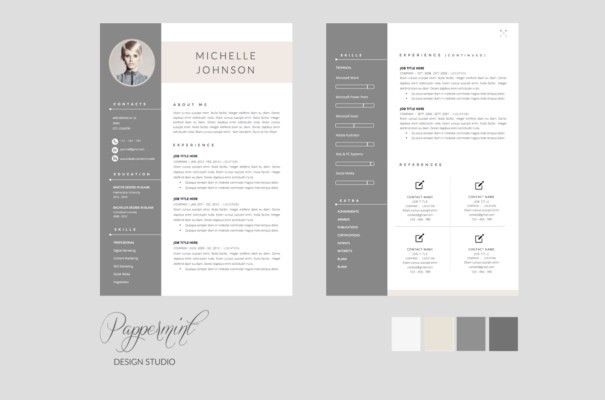 Resume Template : Modern Two Page Cv Templates On Thehungryjpeg ...
