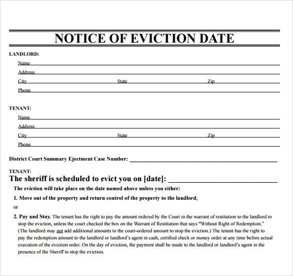 Free Printable Eviction Notice - gameshacksfree