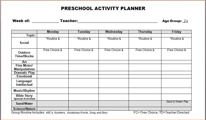 4+ preschool weekly lesson plan templateReport Template Document ...