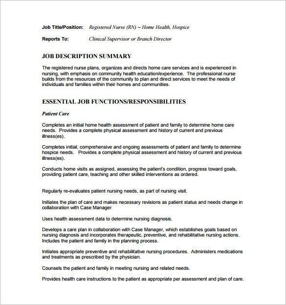 Registered Nurse Job Description. Rn Duties Registered Nurse Job ...