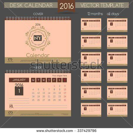 Retro Calendar 2016 Vector Templates All Stock Vector 337429796 ...