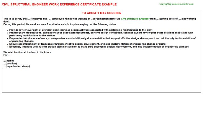 Civil Structural Engineer Work Experience Certificate