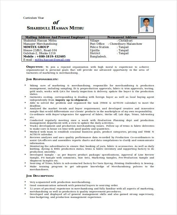 Merchandiser Resume Template - 6+ Free Word, PDF Documents ...