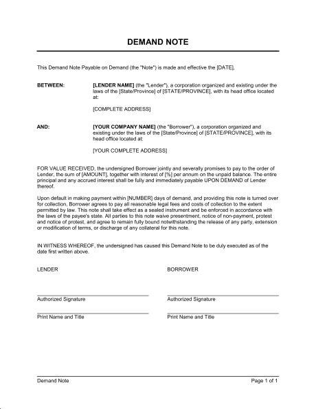 Demand Note - Template & Sample Form | Biztree.com