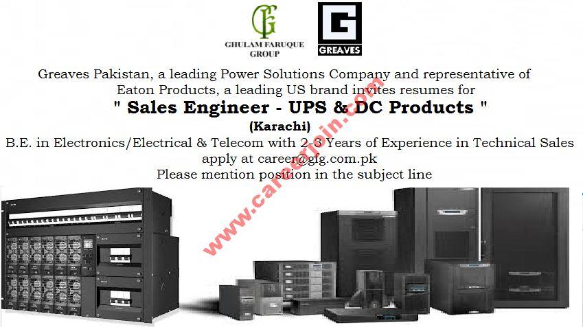 Greaves Pakistan Jobs Sales Engineer