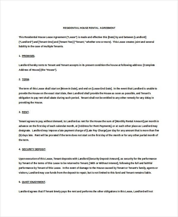 14+ Residential Rental Agreement Templates – Free Sample, Example ...