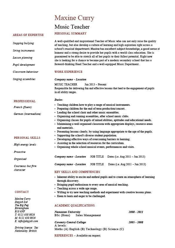 Sample Music Teacher Resume - Best Resume Collection