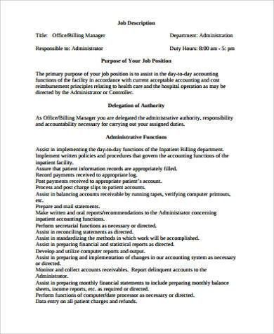 Medical Office Manager Job Description Sample   6+ Examples In .