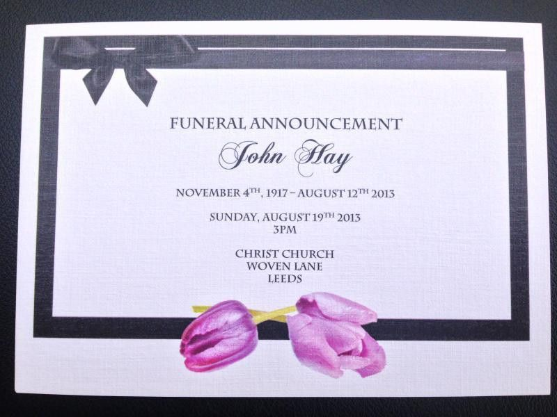 nice modern funeral invitation card beautiful purple tulips ...