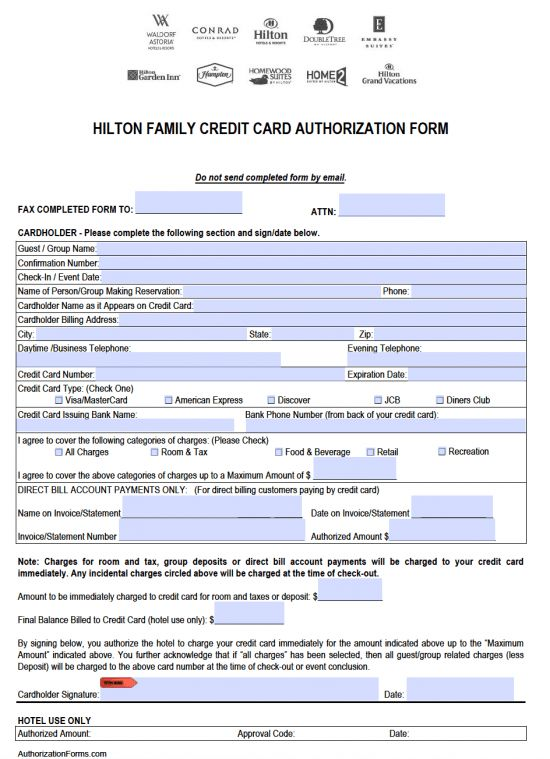 Free Hilton Credit Card Authorization Form - PDF