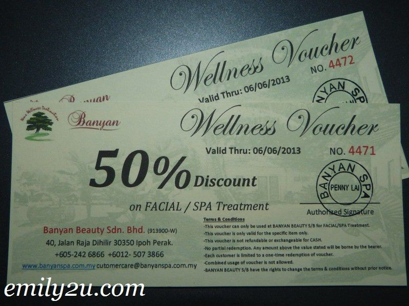 Free 50% Discount Vouchers @ Banyan Spa, Ipoh | From Emily To You