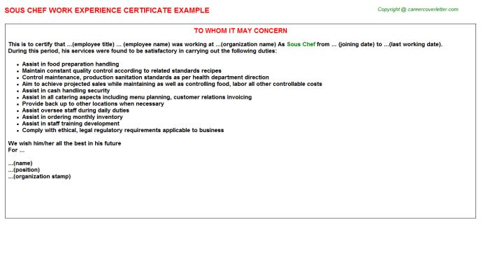 Sous Chef Work Experience Certificate