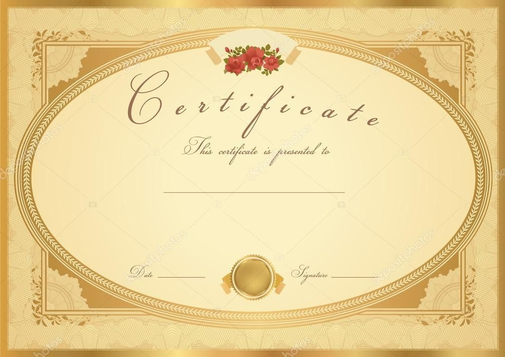 Certificate of completion (template or sample background) with ...