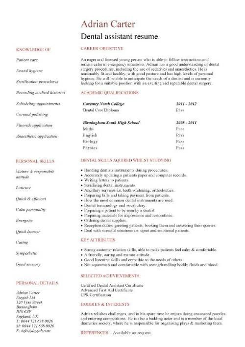 Dental Assistant Resume Examples. 5+ Dental Assistant Resume ...