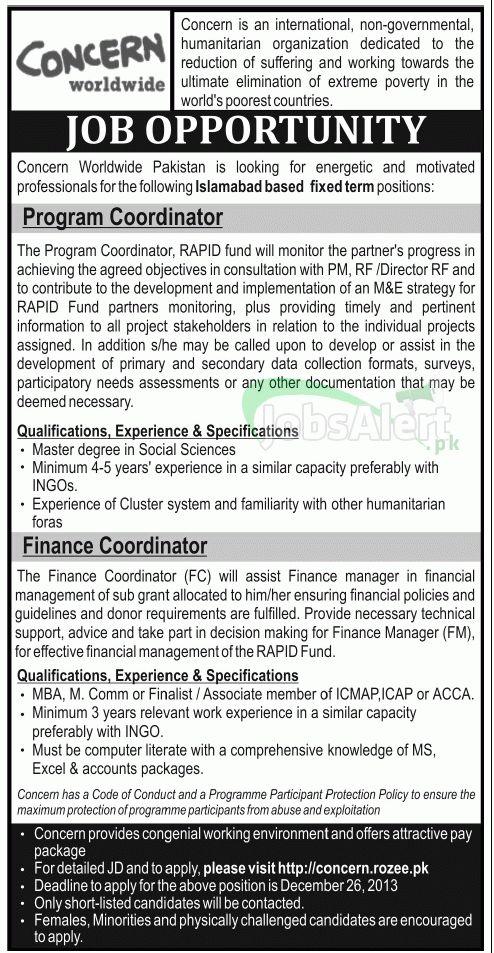 Jobs for Finance Coordinator in Concern Worldwide Islamabad