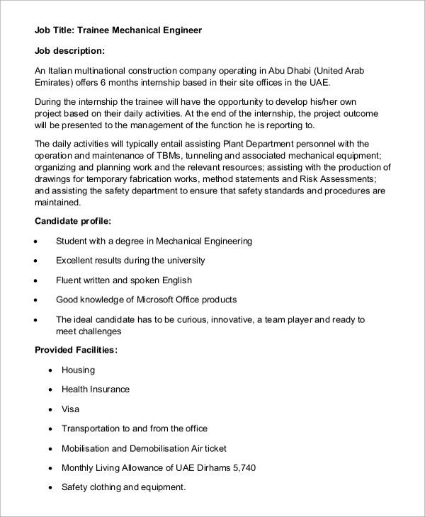 Sample Mechanical Engineer Job Description   8+ Examples In Word, PDF