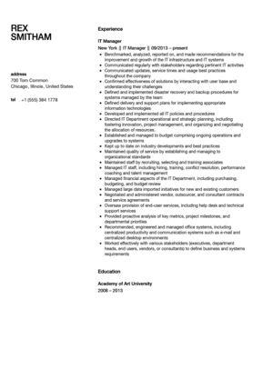 IT Manager Resume Sample | Velvet Jobs