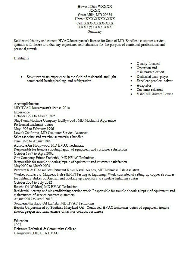 Resume For Machinist - Contegri.com