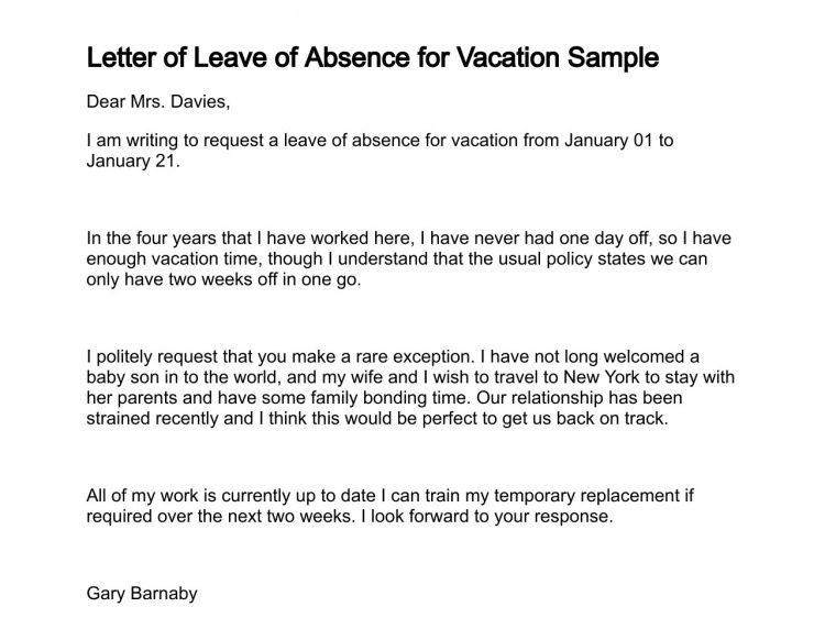 Leave Request Sample Letter Of Leave Letter Of Leave Of Absence – Sample for Leave Application