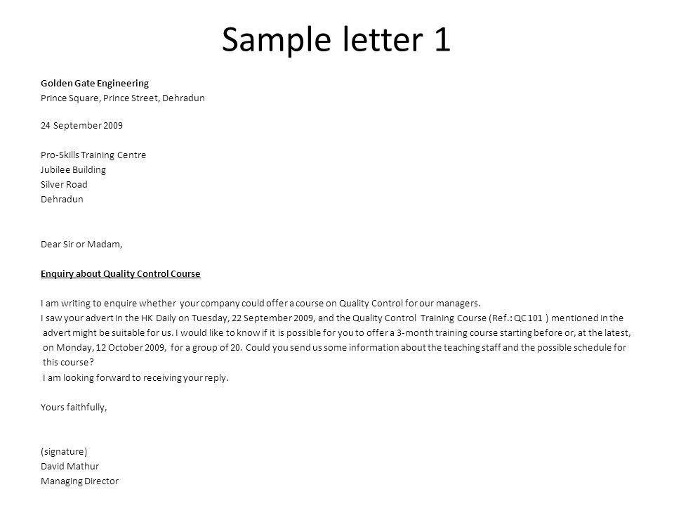 Enquiry Letters Unit 4 , Part ppt video online download